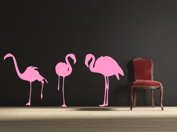 Flamingos Wall Decal -by Decor Designs Decals, pink flamingos, hawaiian decal, tropical decals, flamingo decal, animal decals, tropical bird decals, tropical birds - Decor Designs Decals - 1