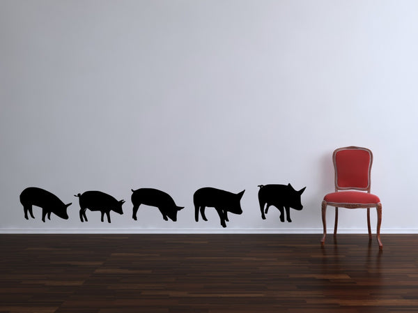 Pigs Vinyl Wall Decal Sticker- by Decor Designs Decals, Pigs Wall Decals- wall decal, pig wall decals, pig stickers, animal decals, kids decals, piggy decals, playroom decal, bacon gift - Decor Designs Decals - 1