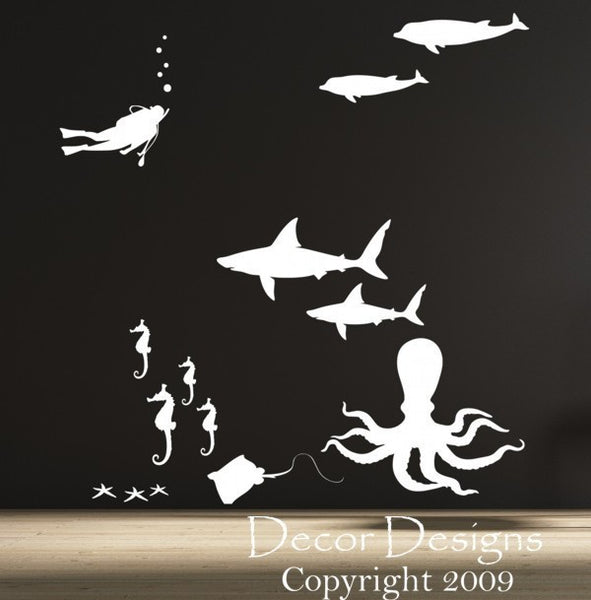 Sea Life Vinyl Wall Decal Sticker - Decor Designs Decals - 1