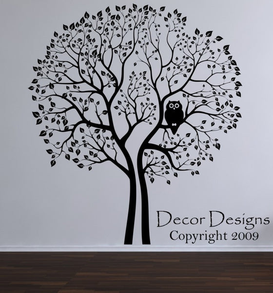 Huge Tree With Hoot Owl Vinyl Wall Decal Sticker. - Decor Designs Decals - 1