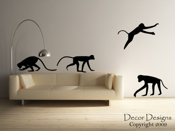 Four Playful Monkeys Vinyl Wall Decal Sticker - Decor Designs Decals - 1