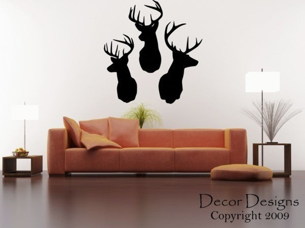 3 Deer Heads Wall Decal - Decor Designs Decals - 1