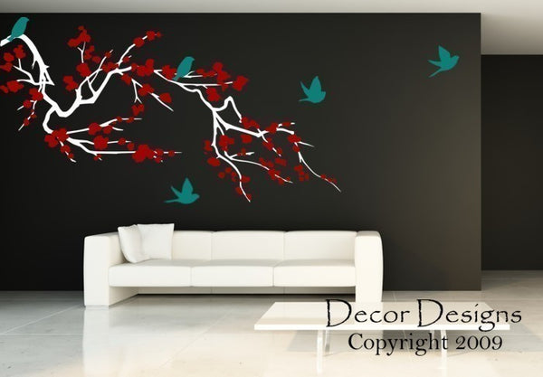 Huge Birds Around The Cherry Blossom Branch  3 Colors Vinyl Wall Decal Sticker - Decor Designs Decals - 1