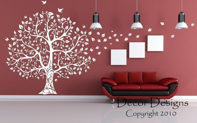gorgeous leaved bird and butterfly tree -decor designs decals, wal