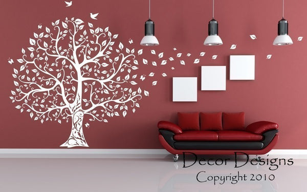 Gorgeous Leaved Bird And Butterfly Tree - by Decor Designs Decals, Wall Decal Flower Tree Wall Decal Butterflies in the Wind Wall Decal Nursery Kids Vinyl Art - Bird - Decor Designs Decals - 1