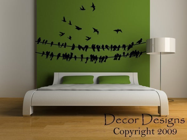 Birds Around A Wire Wall Decal - Decor Designs Decals - 1