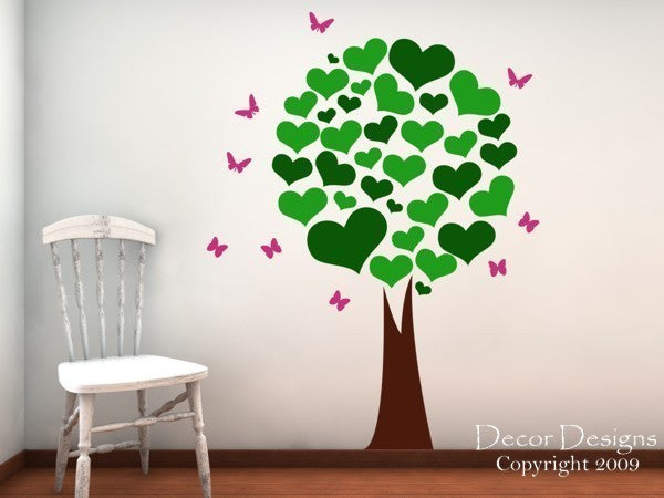 Heart Leafed Tree Wall Decal - Nursery Tree Wall Decal - Kids Decals - Butterfly Decals, Butterflies - Girls Wall Decals - Tree Wall Decals - Decor Designs Decals - 1