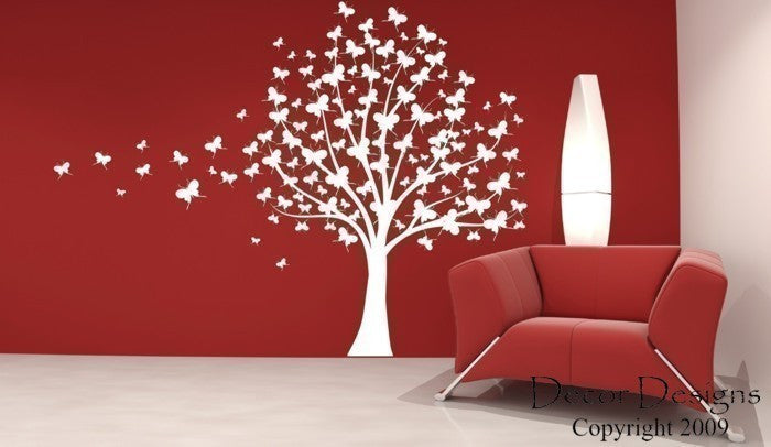 Large Butterfly Tree Vinyl Wall Decal Sticker - Decor Designs Decals - 1 ... & Large Butterfly Tree Vinyl Wall Decal Sticker