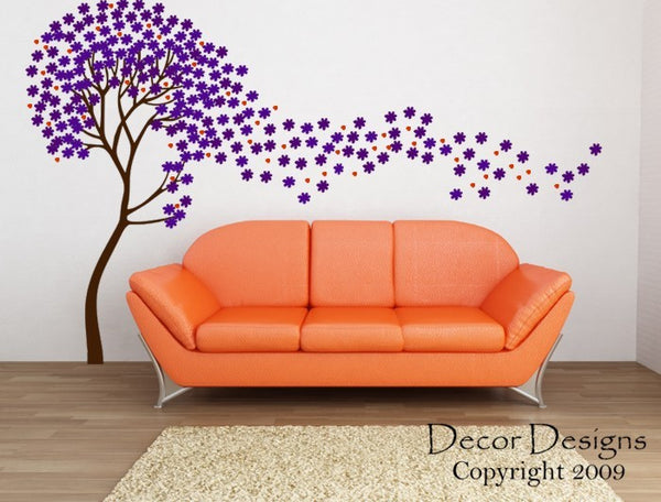 Flower Tree Wall Decal -by Decor Designs Decals, Tree in the Wind Wall Decal- Flower Tree Decal Nursery Kids Children Wall Decal - Blowing Flowers - Nursery Trees - Decor Designs Decals - 1