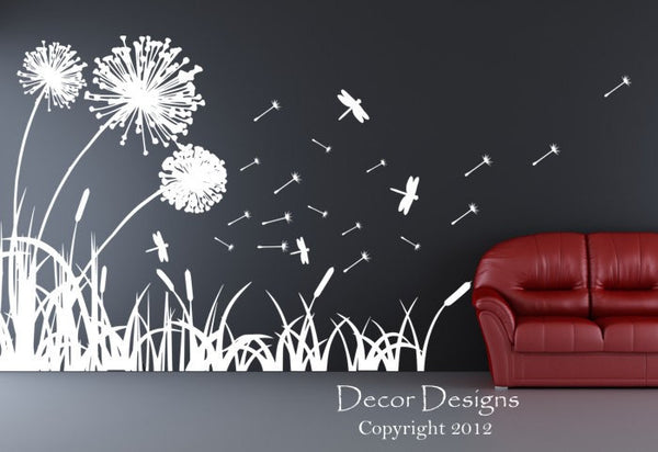 Dandelions Dragonflies And Cattails Vinyl Wall Decal Sticker - Decor Designs Decals - 1