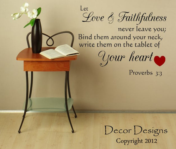 Love And Faithfulness Inspirational Quote Vinyl Wall Decal Sticker - Decor Designs Decals - 1