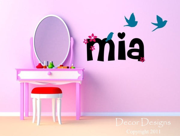 Girls Custom Name Wall Decal - by Decor Designs Decals, birds decal wall decal flying birds decal Flower decal flower name decal nursery decals playroom decals name 325 - Decor Designs Decals - 1
