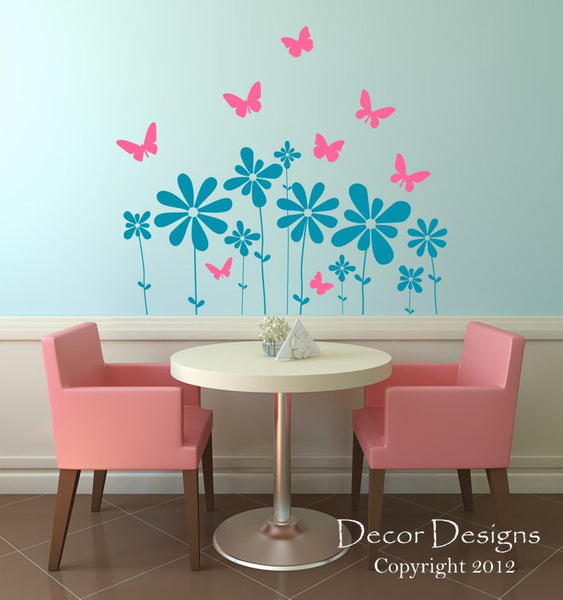 Butterfly Flowers Wall Decal - Decor Designs Decals - 1