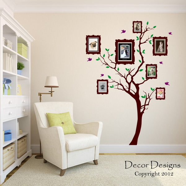 Wall decal, Family Tree Wall Decal - by Decor Designs Decals, Photo frame tree Decal - Family Tree Wall Sticker - Living Room Wall Decals - wall graphic - Frame Tree - Decor Designs Decals - 1