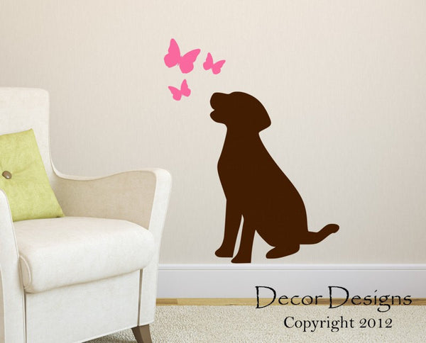 Labrador Retriever Wall Decal - by Decor Designs Decals, Labrador Retriever Decal- Dog Decal- Lab Decal-Lab Sticker- Butterfly Wall Decals - Butterflies Decal - Decal - Decor Designs Decals - 1