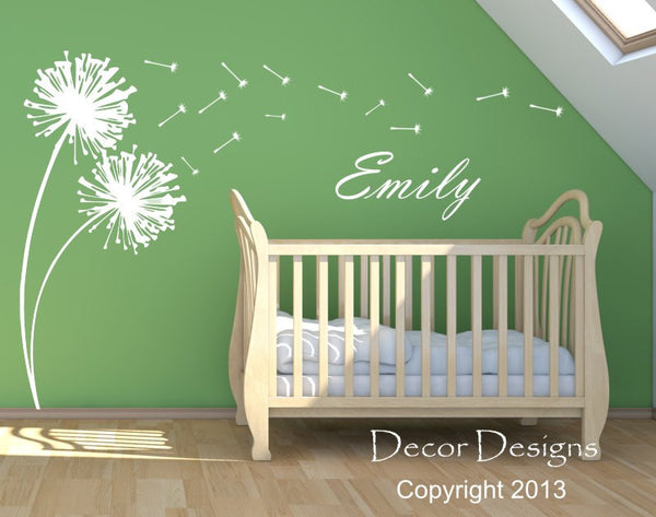 Dandelions Blowing Custom Name Vinyl Wall Decal Sticker - by Decor Designs Decals, Dandelion Wall Decals- Nursery Decals - Wall Decals - Dandelion Decals - Sticker - Decor Designs Decals - 1