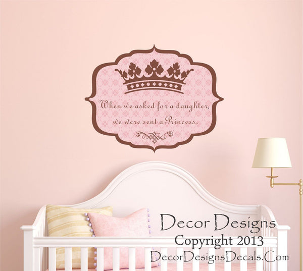 Princess Crown Personalized Vinyl Wall Decal- by Decor Designs Decals, Girls Decals - Wall Decal Girls Nursery Bedroom - Princess Decal Crown Wall Decal Girls - Decor Designs Decals