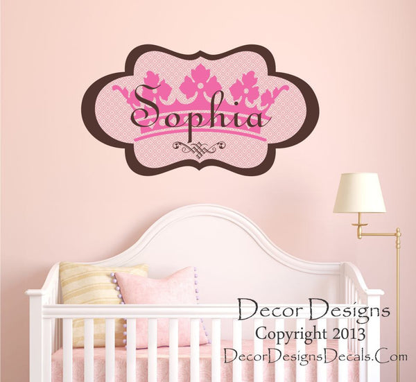 Girls Princess Name Wall Decal- by Decor Designs Decals, Princess Crown Personalized Decal Girls Nursery Bedroom Home Decor Princess Decal Crown Wall Decal Girls X47 - Decor Designs Decals - 1