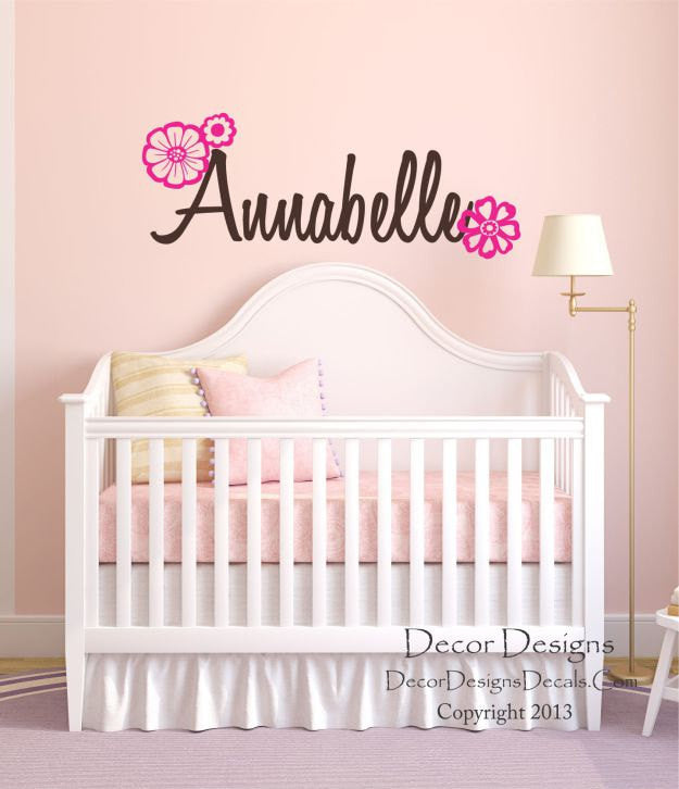 Flowers Custom Name Wall Decal   Fancy Name Wall Decal   Baby Girl  Personalized   Name ...