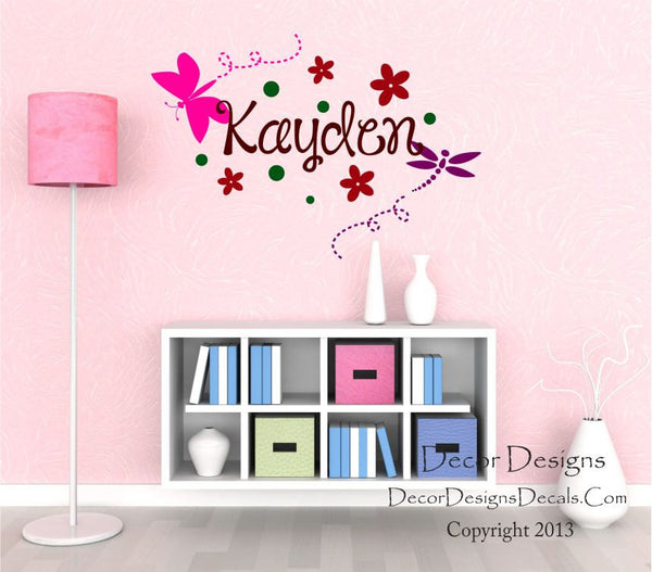 Dragonfly Name Wall Decal - Decor Designs Decals - 1