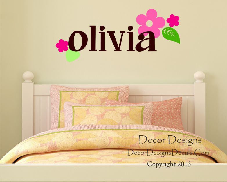 Personalized Name Wall Decal With Dahlia Flowers - by Decor Designs Decals,  Girls Name Wall Decal - Flowers Decal - Baby Girl Nursery Wall Decal - ...