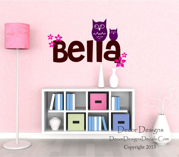 Owl and Flowers Custom Name Wall Decal - by Decor Designs Decals, Girls Name Decal, Girls Flower Name, Owl Decals, Flower Decals, Custom Name Decals, Nursery Decals - Decor Designs Decals - 1