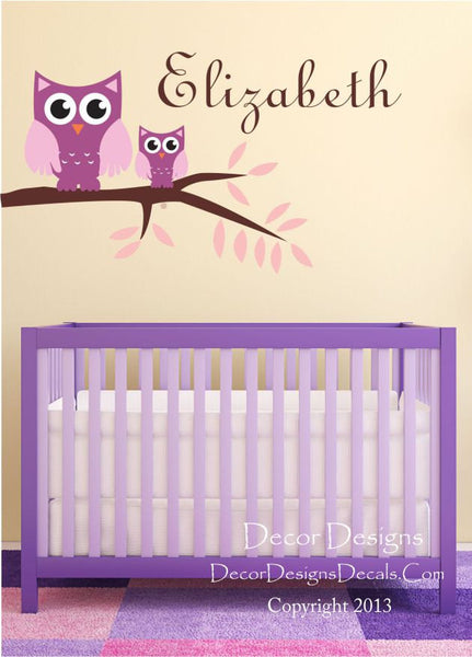 Owl Branch Wall Decals - by Decor Designs Decals, Name Wall Decals - Branch owl decals - owls vinyl wall decal, nursery owls for crib - Vinyl decals - Nursery Decals - Decor Designs Decals - 1