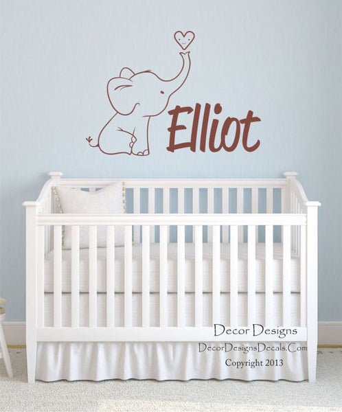 Boys Elephant Name Wall Decal - Decor Designs Decals - 1