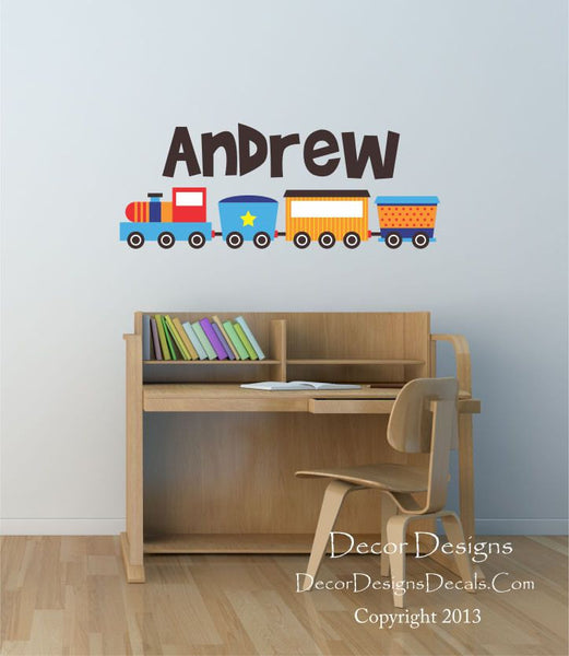 Custom Name Train Printed Fabricvinyl Wall Decal Sticker - Decor Designs Decals