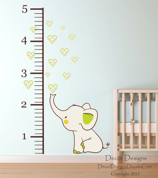 Elephant Growth Chart Wall Decal - Decor Designs Decals