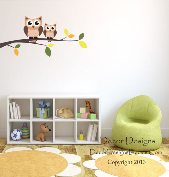 Owl Branch Wall Decal, by Decor Designs Decals, Owls on a Branch for Baby Nursery, Kids Room Decals - Owl Wall Decals - Branch Wall Decals - Owl Branch - Wall Decals - Decor Designs Decals