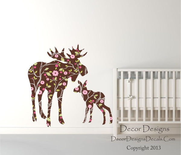 Moose Wall Decals - by Decor Designs Decals, Mom With Baby Moose Decal - Moose Baby, Modern Nursery, Nursery Decals, Baby Decals, Woodland Theme - Wall Decals  - Decor Designs Decals