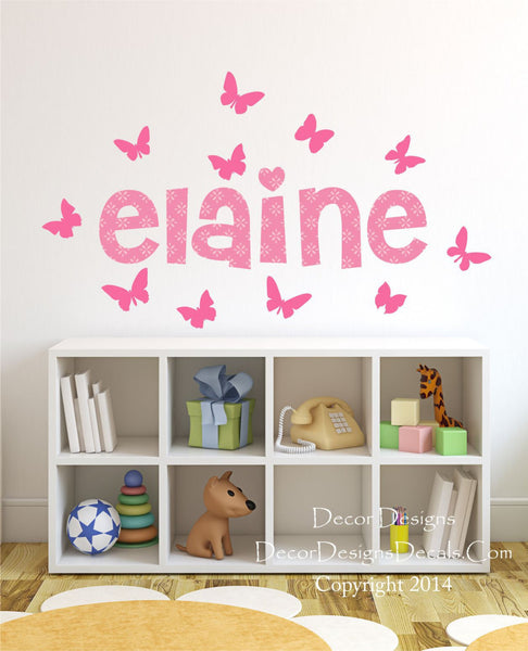 Patterned Name with Butterflies Wall Decal - Decor Designs Decals