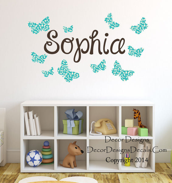Blue Butterfly Name Wall Decal - Decor Designs Decals