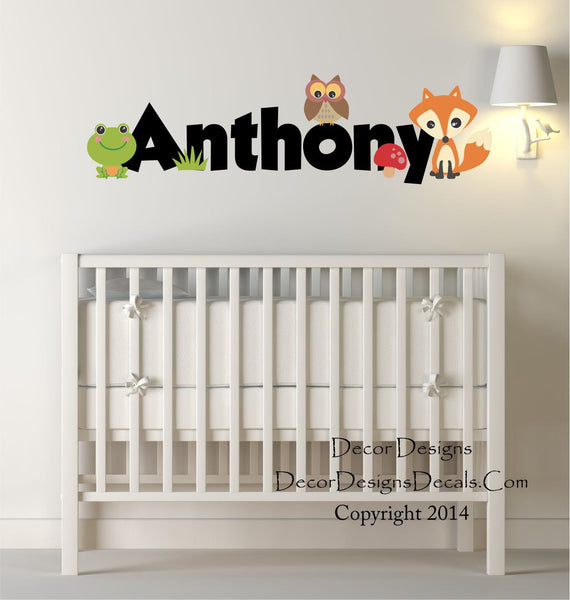 Woodland Animals Custom Name Printed Fabricvinyl Wall Decal Sticker - Decor Designs Decals