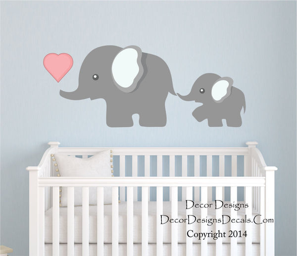Elephant Wall Decal, by Decor Designs Decals, Nursery Wall Decal, Mom and Baby Elephant Decal, Elephants Decal Sticker, Animal Decal, Nursery Decals- Kids Decal P41 - Decor Designs Decals