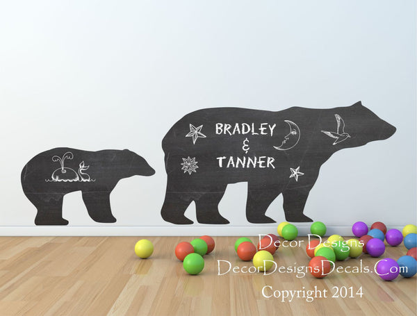 Mom And Baby Bear Chalkboard Vinyl Wall Decal Sticker - Decor Designs Decals