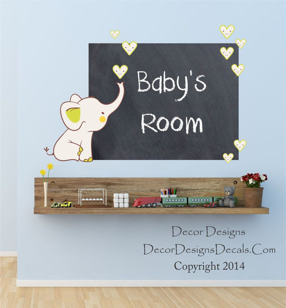 Baby Elephant Chalkboard Decal - Decor Designs Decals