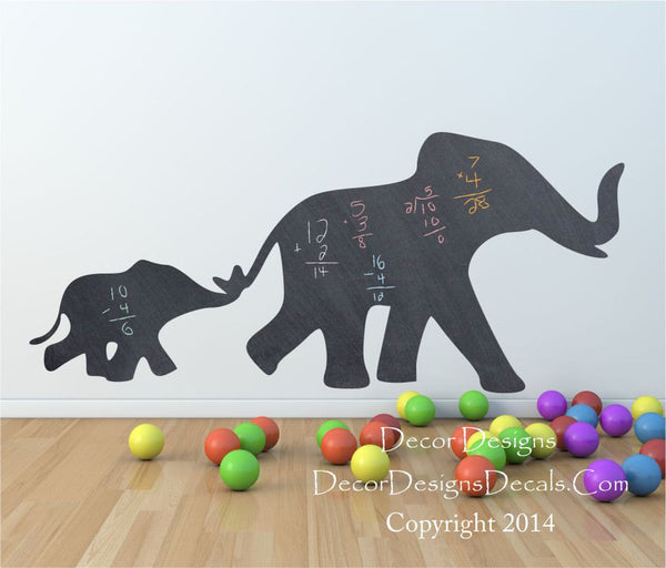 Mom and Baby Elephant Chalkboard Vinyl Wall Decal Sticker - Decor Designs Decals