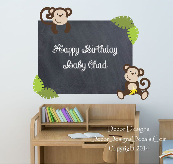 Monkeys Chalkboard Vinyl Wall Decal Sticker - Decor Designs Decals