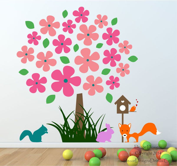 Flower Nursery Tree Wall Decal - by Decor Designs Decals, Nursery Wall Decals- Kids Room Wall Decals - Animal Decals - Flower Wall Decals - Mural - Playroom Decals - Decor Designs Decals - 1