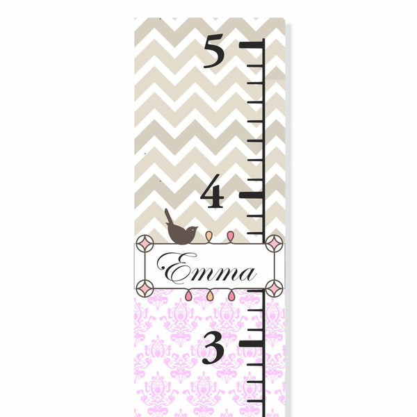 Chandelier And Chevron Patterned Personalized Canvas Growth Chart- by Decor Designs Decals - Decor Designs Decals - 1