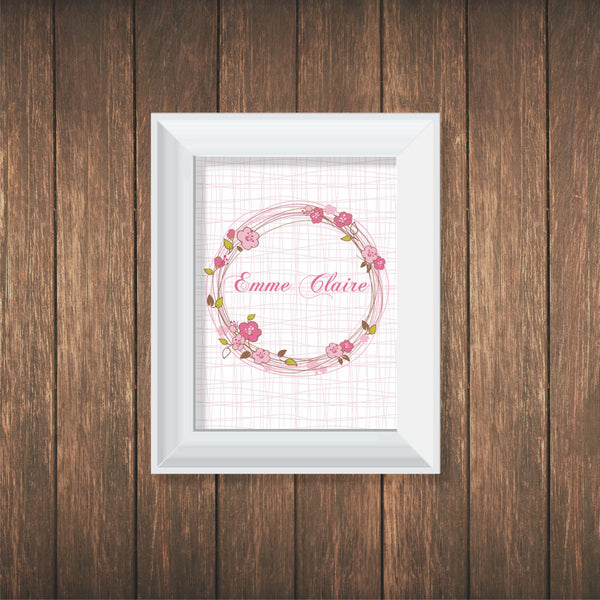 Flower Wreath Personalized Print Wall Decal - Decor Designs Decals