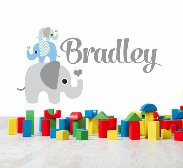 Elephant Stack Boys Name Wall Decal - - Decor Designs Decals - 1