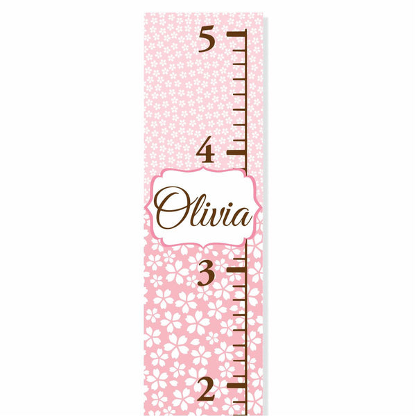 Pink Pattern Canvas Growth Chart - Decor Designs Decals - 1