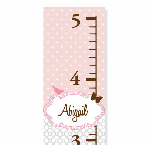Pink and Gray Canvas Growth Chart - Decor Designs Decals - 1