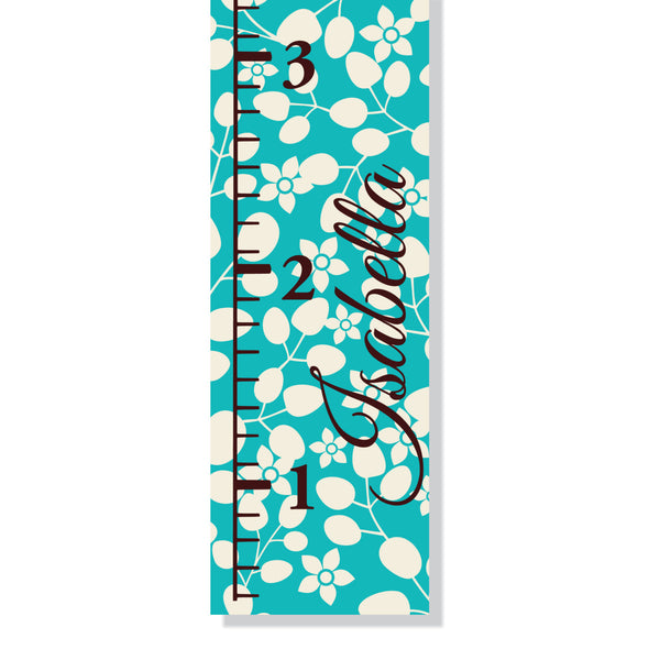Blue Flowers Canvas Growth Chart - Decor Designs Decals - 1