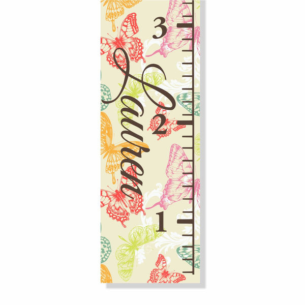 Butterfly Canvas Growth Chart - Decor Designs Decals - 1