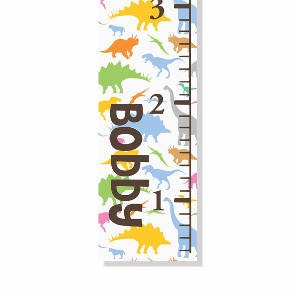 Dinosaurs Canvas Growth Chart - Decor Designs Decals - 1