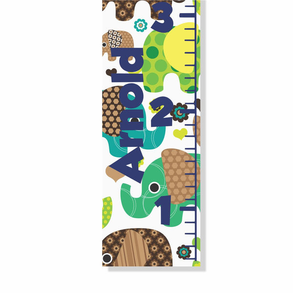 Elephant Pattern Canvas Growth Chart - Decor Designs Decals - 1